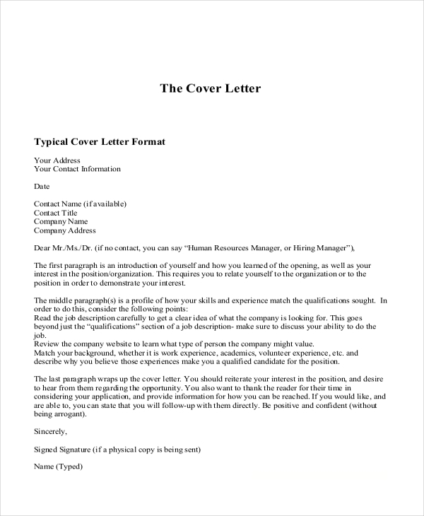 Free 14 Sample Example Cover Letters In Pdf Ms Word Excel