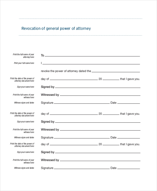 revocation of general power of attorney