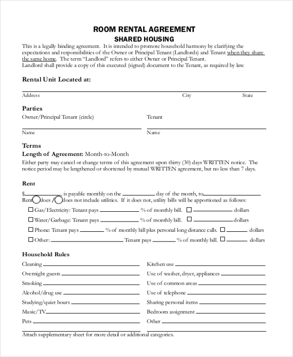 Room Rental Agreement Form Sample  House Rental Agreement Template