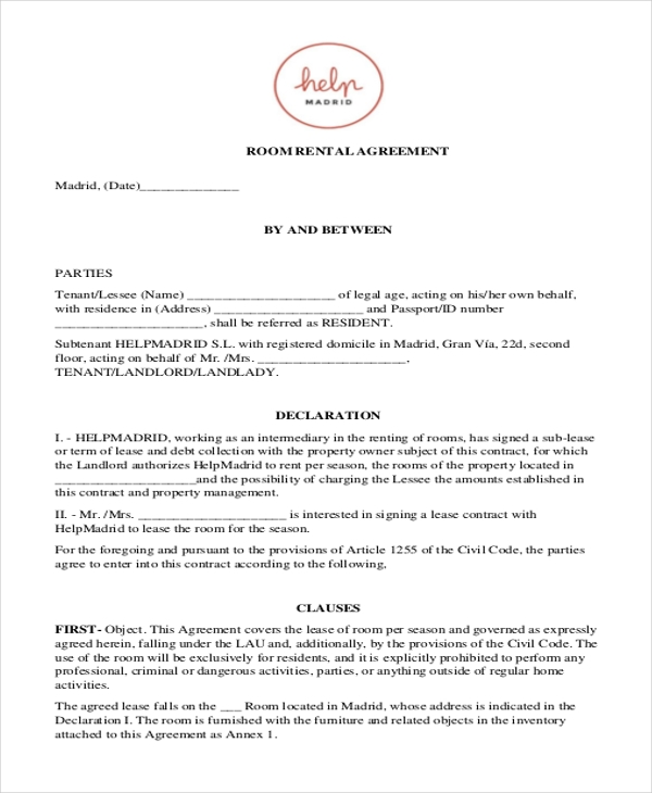 Sample Room Rental Agreement Form   Free Documents In Doc Pdf
