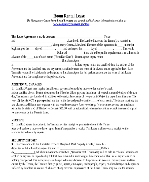 Room Lease Agreement Sample Roommate Rental Agreement Free