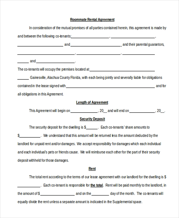 Sample Roommate Agreement Form 12 Free Documents in Word PDF – Sample Room Rental Agreement