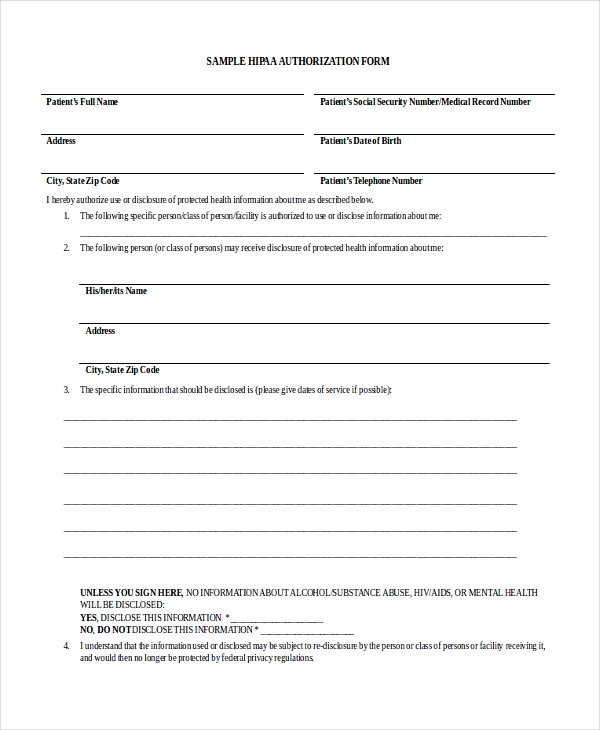 sample hipaa authorization form