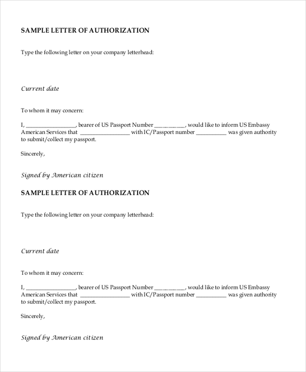 sample letter of authorization