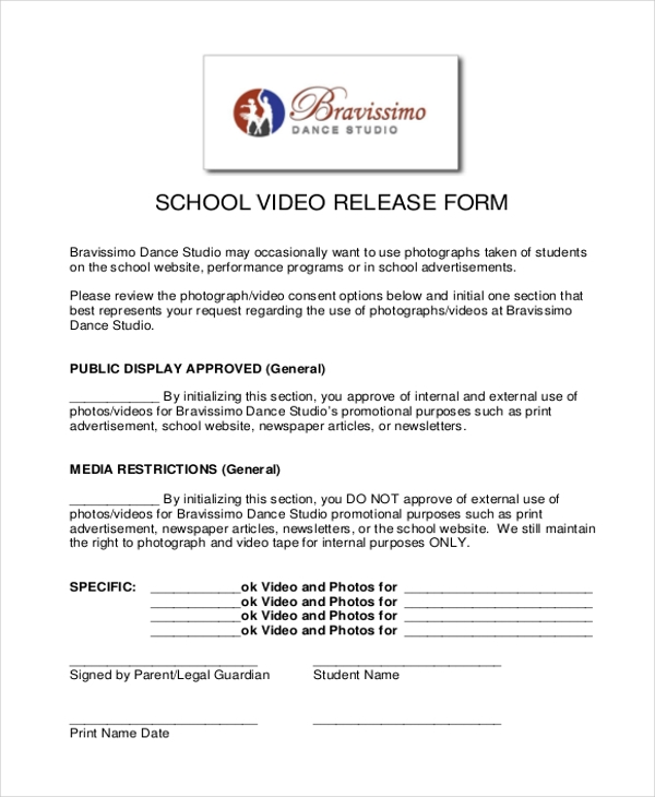 Sample Video Release Form   Free Documents In Doc Pdf