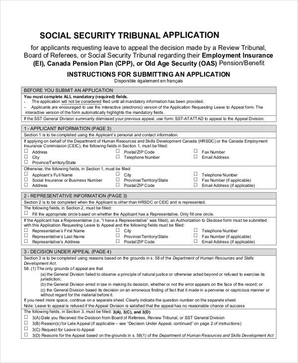 Free 8  Sample Social Security Application Forms In Pdf