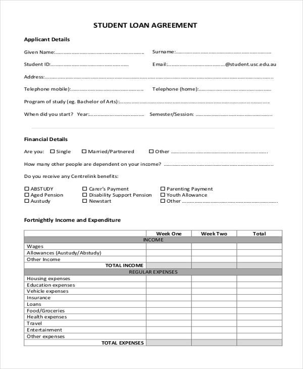 student loan agreement
