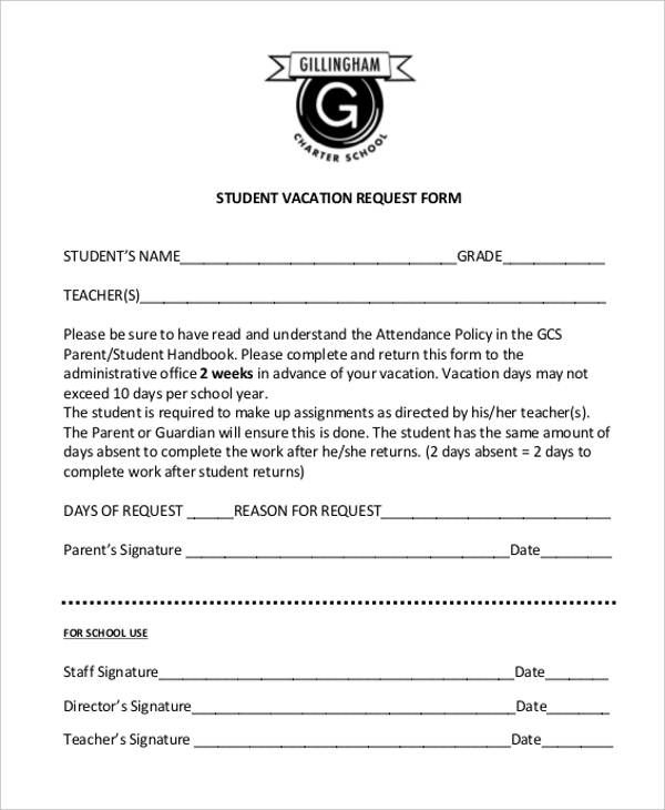 Sample Vacation Request Form 11 Free Documents in Doc PDF – Student Request Form