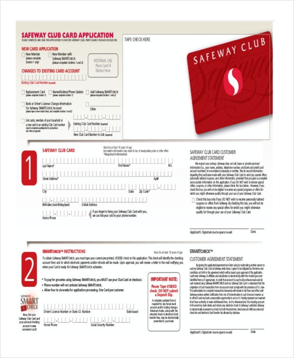 safeway club card application