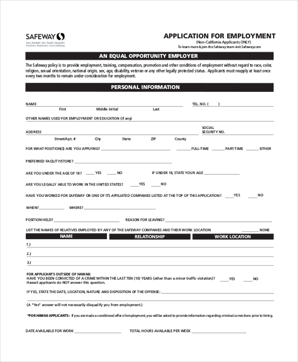 safeway employment application