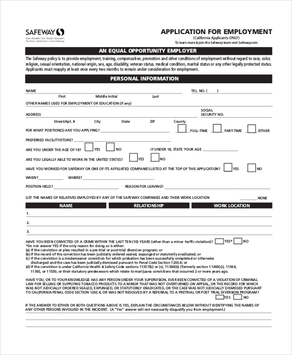 Sample Safeway Application Form - 7+ Free Documents In Pdf
