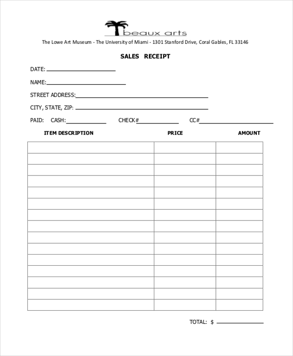 sales receipt form example