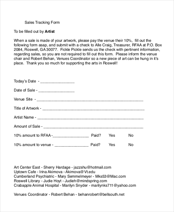 sales tracking form
