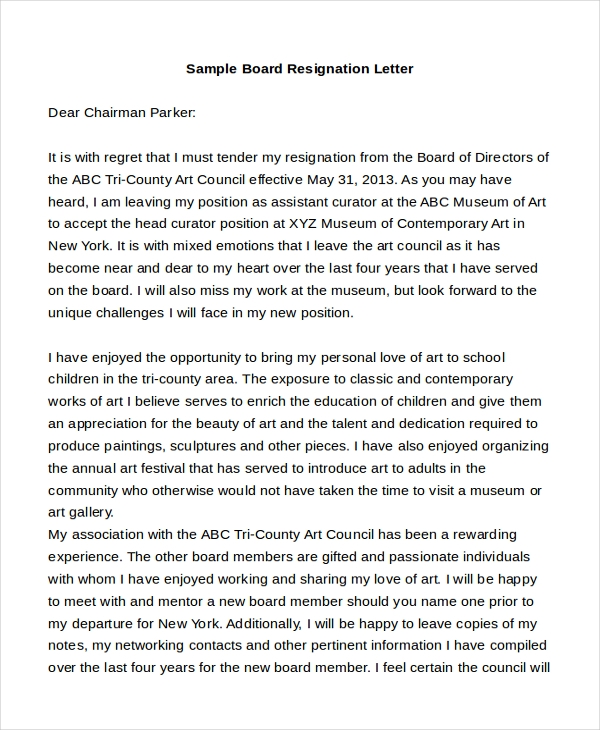 sample board resignation letter