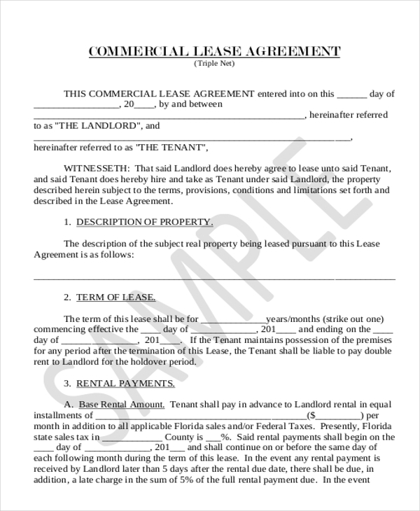 Sample Lease Agreement Form 11 Free Documents in Doc PDF – Sample Commercial Lease Agreement