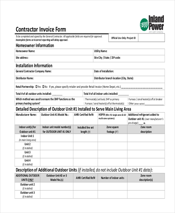 Sample Contractor Invoice Form   Free Documents In Word Pdf