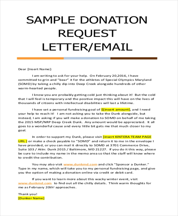 Donation Letter Sample Free Documents In Doc Pdf
