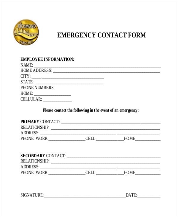 free 11  sample emergency contact forms in pdf