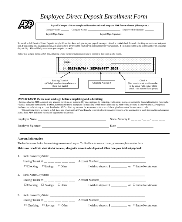 Sample Direct Deposit Forms   Free Documents In Pdf
