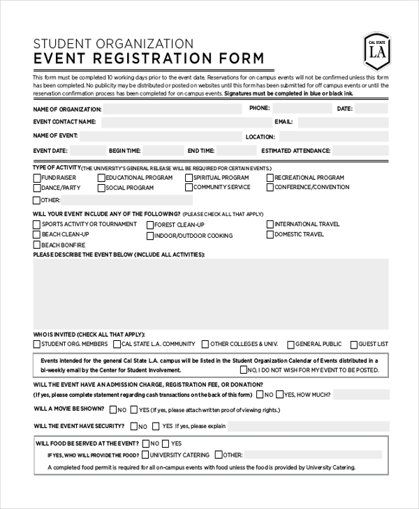 sample event registration form