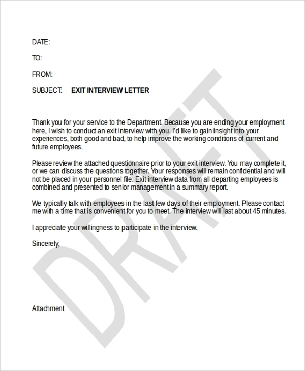 sample exit interview letter