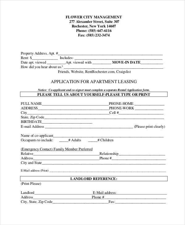 sample form for application for apartment leasing
