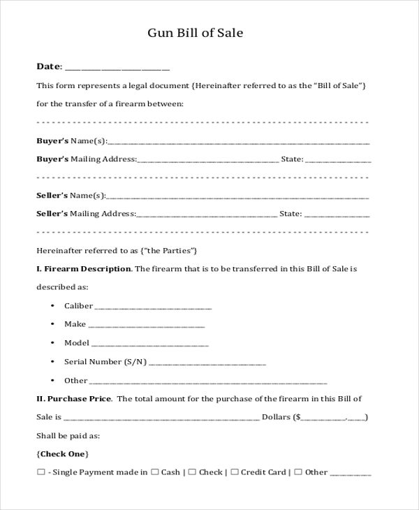 Sample Gun Bill Of Sale Form   Free Documents In Doc Pdf