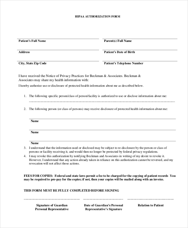 sample hippa authorization form