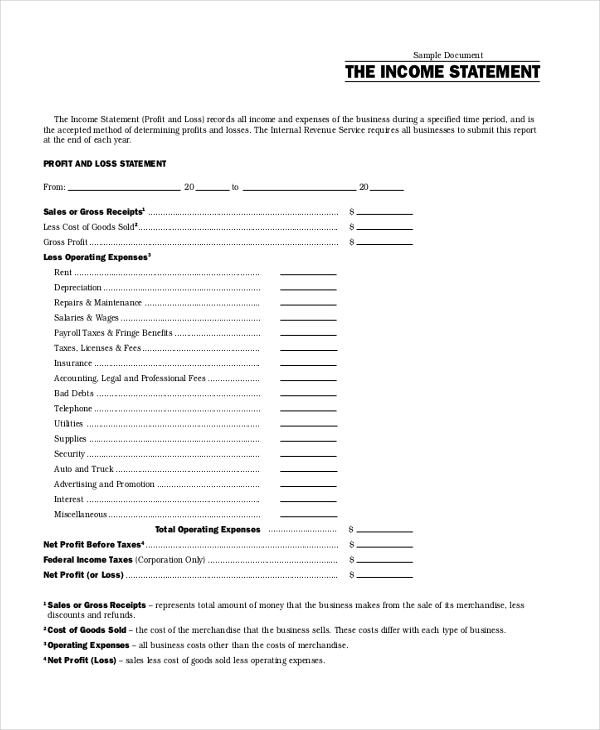 Sample Income Statement Form 9 Free Documents in PDF Xls – Sample Income Statement