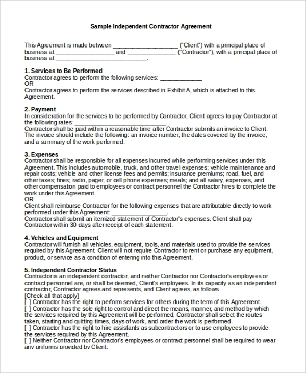 Sample Independent Contractor Agreement Form   Free Documents