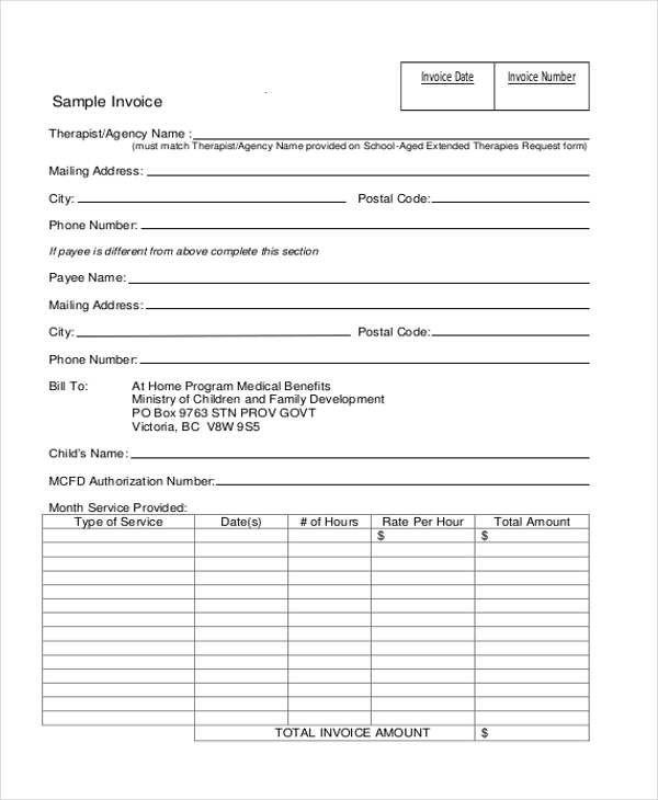 Invoice Form Sample   Free Documents In Doc Pdf Excel