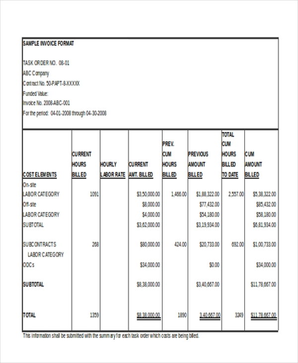 sample invoice in excel format