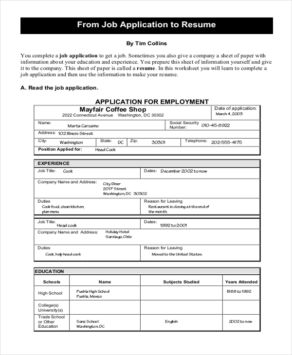 sample job application to resume