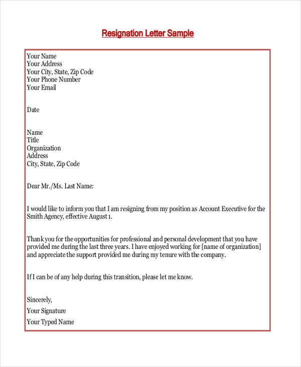 Sample Resignation Letter   Documents In Pdf Doc