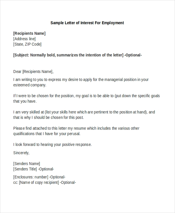 sample letter of interest sample letter of interest form 8 free documents in pdf doc 24625 | Sample Letter of Interest For Employment