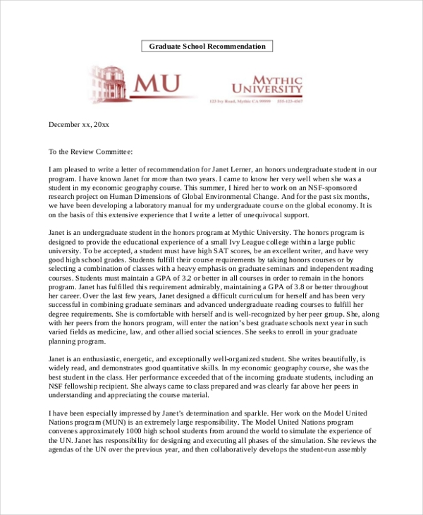 sample letter of recommendation for graduate school1