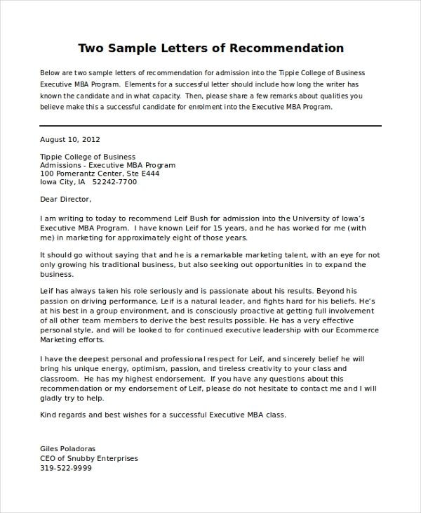 Sample Letters Of Recommendation   Free Documents In Pdf Doc