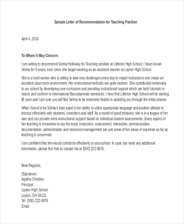 employee recommendation letter sample pdf letter of recommendation sample 10 free documents in 12342