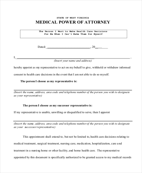 Sample Medical Power Of Attorney Form 9 Free Documents In Pdf