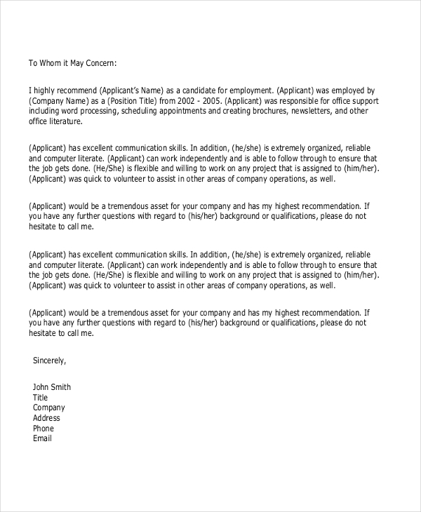 Personal Letter Of Recommendation For College from images.sampleforms.com