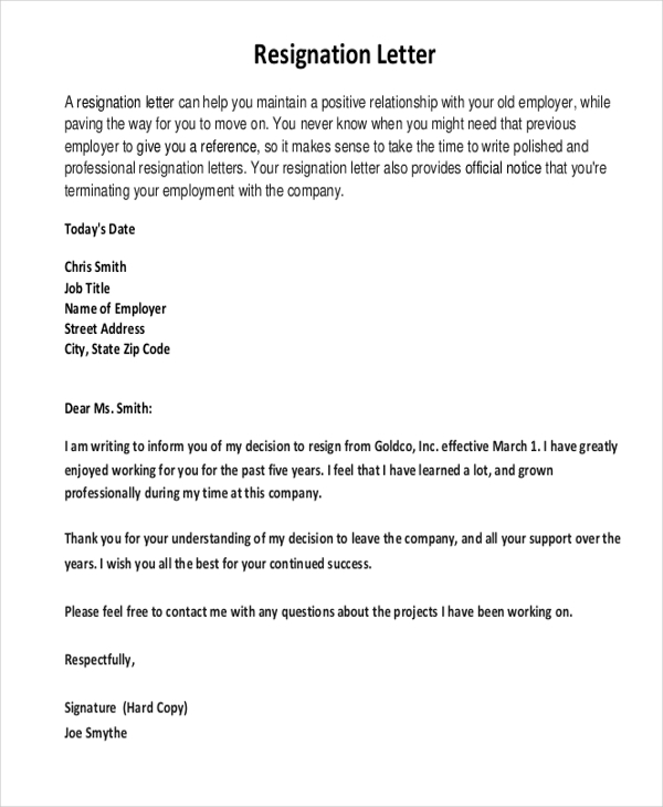 Sample Resignation Letter 8 Free Documents in Word pDF – Sample of Professional Resignation Letter