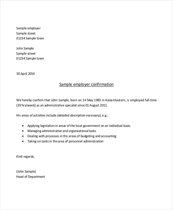 Sample Proof Of Employment Letter   Sample Documents In Pdf Doc