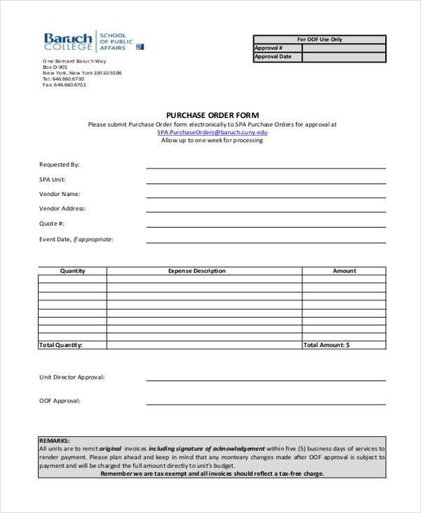 sample purchase order form