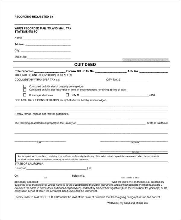 sample quit deed form1