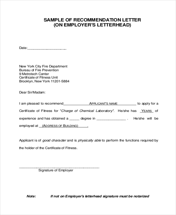 Letter of Re mendation Sample 9 Free Documents in PDF