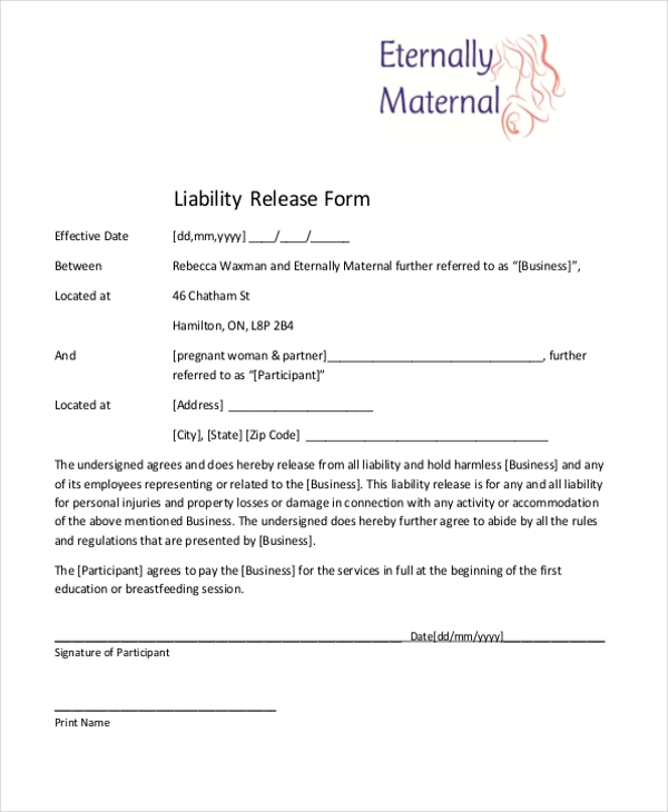 Sample Liability Release Form   Free Documents In Doc Pdf