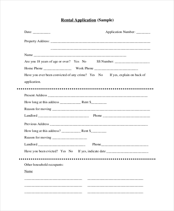 rent application sample
