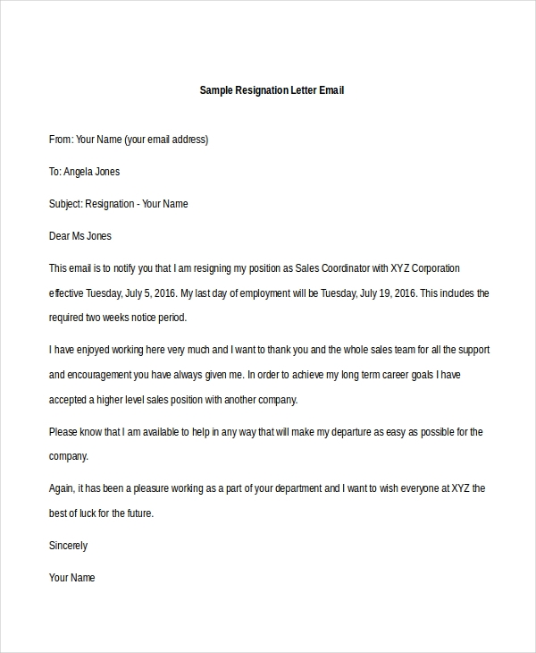 resignation letter sample