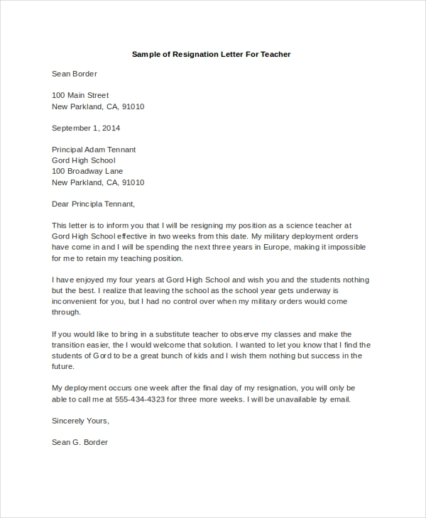 sample of resignation letter for teacher