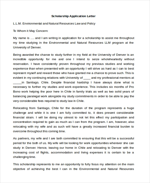 Scholarship Application Letter